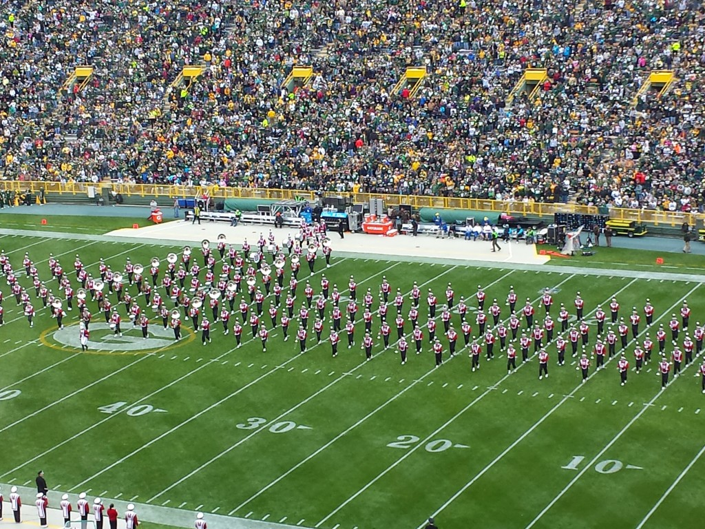 Halftime Performance of Wisconsin Badgers Marching Band at Packers Game